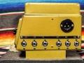 Binson Echorec 2 T7E 6 knops Black Plexi front 1962 met toonregeling, zijkant met 3 input en output gemodificeerd van Geloso naar jacks en nog een originele aansluiting voor Binson Pre-mixer.