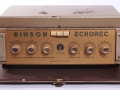 Binson Echorec T5E 6 knops Gold Plexi front 1957 op originele kofferplaat. Franse display, met transparante knoppen, nog zonder toonregeling.