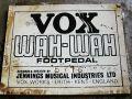 Vox Wah-Wah pedal typeplaatje.