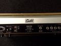 Binson A-606-TR met Guild label, transistor 1973, 4 weergavekoppen, 4 playback buttons, 1 tone-control, 3 inputs. back.