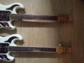 Boven de authentieke Burns Hank Marvin 1965 met daaronder de Chinese Burns replica uit 2004, een serie van 2004 exemplaren.