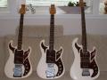Een prachtig trio van de echte Burns gitaren van The Shadows, links die van Hank Marvin, midden die van Bruce Welch (met gaatje) en rechts de bas van John Rostill. Gitaren gebruikt in tijdvak 1964-1972.