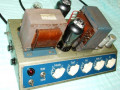 Dynaphon MV1 1955 15-30 watt, 5 knops muziekversterker, chassis  links met 7 buizen (EZ12, EM72, EF40, 2x ECC40, 2x EL12).