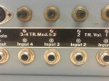 Swiss Echo 566, back met in en output met instelbare volumecontrol.