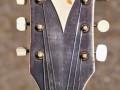 Caledonie Archtop jazz gitaar, 2 tone Satin Sunburst 1958 1 pickup, headstock front.