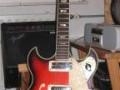 Frima ES gitaar Redburst met 2 pickups en tremolo, front.