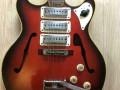 Lion semi acoustische 102-3  1970 Redburst, 3 Luxtone elementen,  TK3 tremolo brede handel en Actiomatic neck met brede kop, body front.