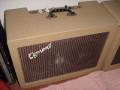 Egmond  V1220 12 watt  buizenversterker 1961, formaat 55x41x25 cm,  EZ80, 2x ECC83 en 2x EL84 buizen, Philips 7 inch AD2800 + 8 inch 9710 speaker, tremolo, front.