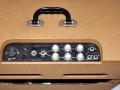 Egmond  V1230 12 watt  buizenversterker 1965, top met display met 3 iacks instrument inputs en footswitch.