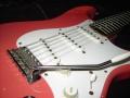 Fender seriemodel 1959 Stratocaster, rosewood toets zicht op tremolo.