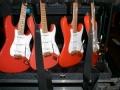 Hank's Custom build Fender Stratocasters, met prototype van VML tremolo arm.