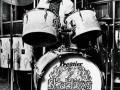 Brian Bennett met zijn Premier drumstel in de tachtiger jaren.