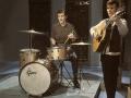 Tony Meehan met zijn Gretsch Progressive Jazz Champagne Sparkle (US 1959-1961).