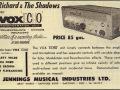 voxEcho advertentie van maart 1961 Framez Wheel Echomatic Model No. 2 , variabele speed met 4 weergave koppen. Door Hank Marvin in  gebruik van 1961-1965.