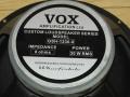 Vox label 12 inch 30 watt 8 ohm ceramic Wharfedale G1230-8 speaker als gebruikt bij de AC30CC2, AC50CP2 en de cabinets VR212N en V412N ui het tijdvak 2006-2010.