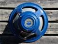 1961 VOX-JMI label T.530 Alnico Azure Blue 12 inch 8 ohm, 3 bolts, soldering op huis. Toegepast op AC15 en AC30. In 1964 verscheen deze speaker in Poly Grey onder nummer T.1088.Mk1.