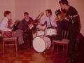 Backstage repetitie in 1963 met Brian Locking, Brian Bennett, Hank Marvin en Bruce Welch.