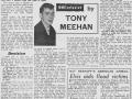 Artikel uit NME van 13 oktober 1961 over het vertrek van Tony Meehan.