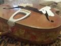 Meazzi Astro serie Jazz acoustische gitaar 1962, staartstuk.