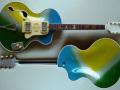 Framez B.B. (Brigitte Bardot) electric acoustic  met single F-Hole en 2 pickups1961, fabrikaat Wandre, front en back.
