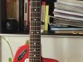 Meazzi Zodiac gitaar 2 pickups en tremolo Hollywood serie Red 1965, front.