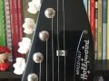 Meazzi Zodiac gitaar 2 pickups en tremolo Hollywood serie Red 1965, Black headstock front.