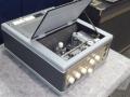 Meazzi Echorama PA 296 1961, eenvoudige echo mixer met eindtrap en 7 dikke weergavekoppen, open.