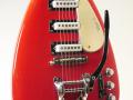 V222 Mark VI 1965, 3 pickups, Red EKO model Italy, open bridge, body front.