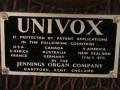 Jennings Univox Organ, patentenplaatje.