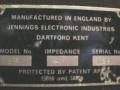Jennings J68 typeplaatje met serienummer.