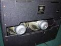 Achterzijde Jennings AC40 Twin combo 1969, half open back met Celestion speakers.