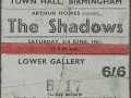 Ticket Town Hall Birmingham juni 1961