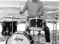 Brian Bennett met zijn tweede Ludwig Black drumstel, geschonken door Ivor Arbiter.