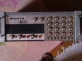 Meazzi Golden Sound PA Solid State Mixer 2x100 watt met 2 boxen 4x12 inch, fabrikaat SEP. front .