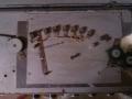 Meazzi Golden Sound PA Solid State Mixer met 2 boxen 4x12 inch, fabrikaat SEP, koppenplaat echo met 5 weergavekoppen.