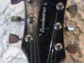 Dynelectron semi acoustic gitaar 2 pickups, headstock front.