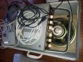 Meazzi Echoamateur PA296 met metalen behuizing in originele speakerbox-opbergkoffer, bovenaanzicht.