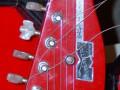 Meazzi Atlantic solid gitaar 3 pickups en tremolo Red 1963, headstock front.