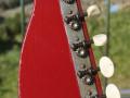 Meazzi Atlas solid gitaar 2 pickups en tremolo Red 1963, headstock back.