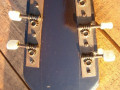 Meazzi Muzikette solid gitaar 2 pickups Sparkle Red 1961-1964, headstock back.
