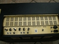 Meazzi Manager Licence SEP 60s, zonder echo, 30 watt, 2 kanalen Normal en Bass. Per kanaal 2 inputs, controls volume, treble, bass, high-low switch. Verder Presence, Standby en Voltageselector.
