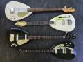 V224 Mark IV 1965 UK model (ook bij EKO gemaakt) helemaal bovenin,  daaronder  de Britse Mark  III Teardrops: Mark III Twelve 1964, Mark III Bass 1964, Mark III Six 1964.