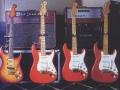 HANKs Custom build Fenders Sunburst , CS 1, CS2 , 1958 van Patrice Bastien. Op de achtergrond de Matchless Amps DC30 rood, Clubman top rood, DC30 top zwart, DC 30 cabinet.
