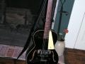 Amerikaanse Vega Archtop Electric Tenor zwart, zoals door Hank in 1958 overgenomen van Eddie Silver van The Railroaders. Gebruikt tijdens de Kalin Twins Tour in 1958. Later in 1959 ook de gitaar van Bruce Welch. 1959.