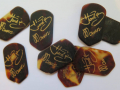 Set plectrum Pentagonal 1959 Hank Marvin Signature Genuine Tortoiseshell geleverd door JMI.