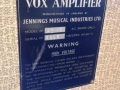 Vox AC10 Split Front Fawn 1962 Red Panel typeplaatje.