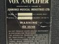 Vox AC10 Super Reverb Twin 1964 slant-top, typeplaatje.