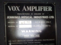 Vox AC10 Twin 1963 version 7 Smooth Black, Red Panel, Typeplaatje.