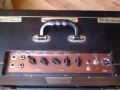 Vox AC10 Twin 1963 version 7 Smooth Black, Red Panel zonder belijning, Norm-Vibrato Channel. Plastic handle.