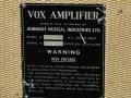 Vox AC15 TV Front Cream eind 1960, typeplaatje.
